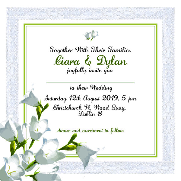 green and white floral wedding invitation inner