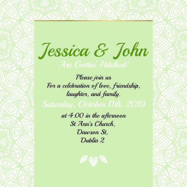 green wedding invitation inner