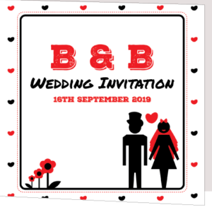 Red and Black Hearts Folded Invite