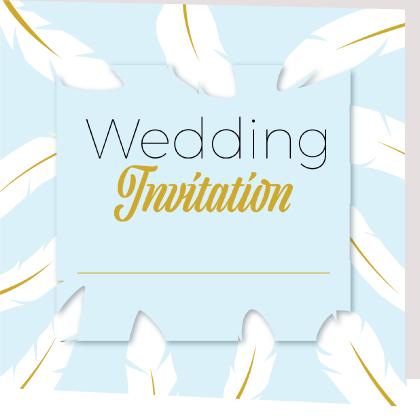 Sky blue folded wedding invite