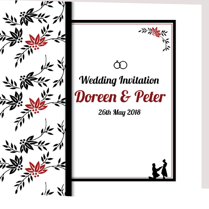 black and red folded wedding invite