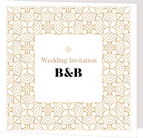 golded folded wedding invitation
