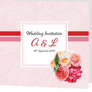 Pink and Red Floral Folded Invite