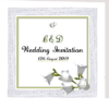 green and white floral wedding invite