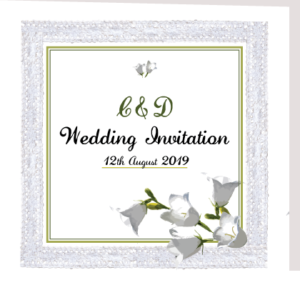 Green and White Floral Folded Invite
