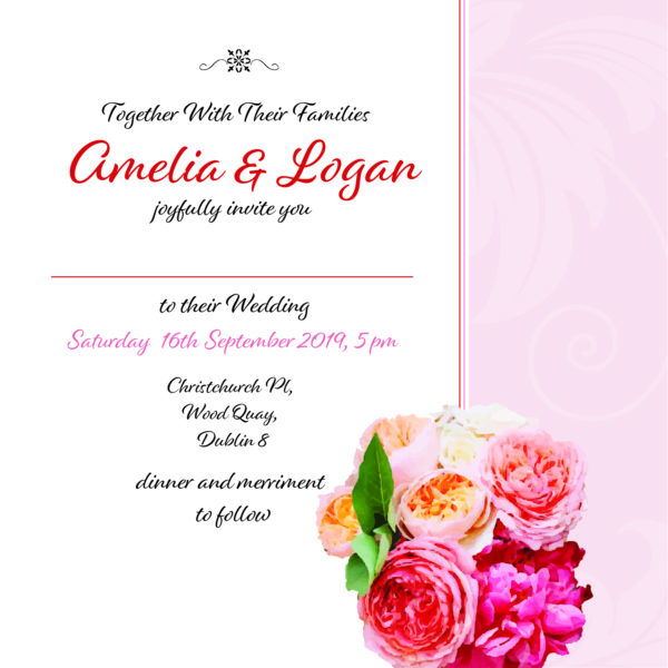 pink and red floral wedding invitation inner