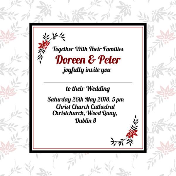 red and black wedding invitation inner