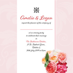 Pink and Red Floral Evening Invitation