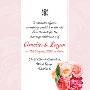 Pink and Red Floral Save The Date