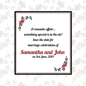 Red and Black Floral Save The Date