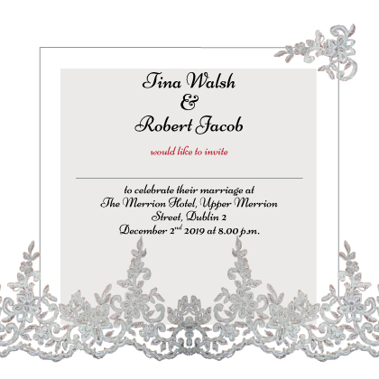 Silver and white Invitation Inner
