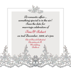 Silver and White Save The Date