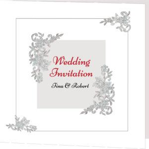 Silver and White Folded Wedding Invite