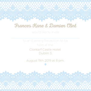 Sky Blue and White Evening Invitation