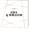 linear gold wedding invitation cover