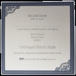 Majestic King Blue Pocket Invitation with Grey Border