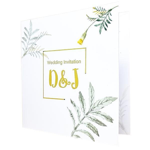 Gold foil font floral invite