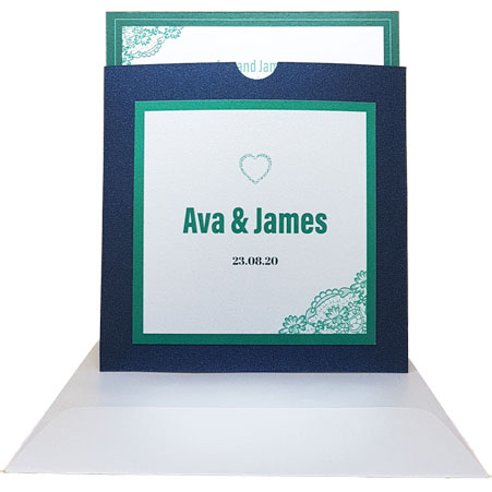King blue pocket wedding invitations with green border