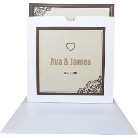 white wedding invitation with brown borders