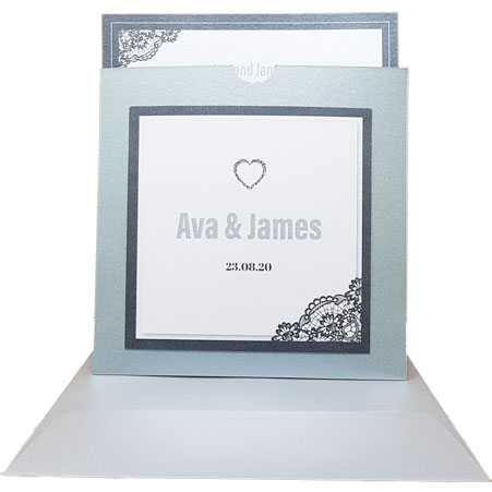 Majestic grey wedding invitations with grey border