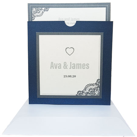 king blue with cream border wedding invitations