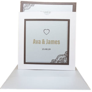 Majestic Classic Marble White Pocket Invitation with Brown Border