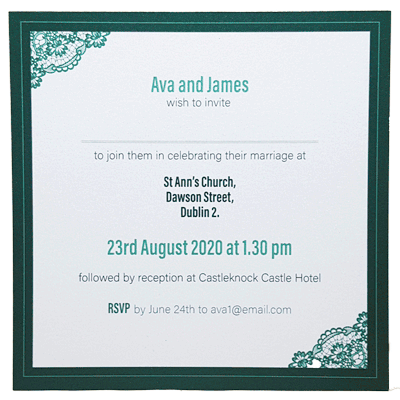 Front page majestic green invitation
