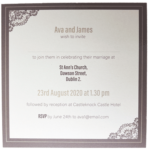 Majestic Marble White Pocket Invitation with Sand and Brown Border