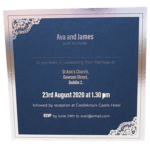 Majestic Moonlight Silver Pocket Invitation with Silver Foil Border