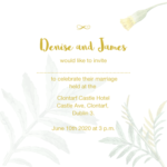 White Floral Invitation with Gold Foil Text