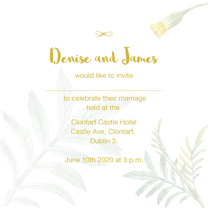 white floral invite with gold foil