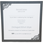 Majestic Moonlight Silver Pocket Invitation with Grey Border