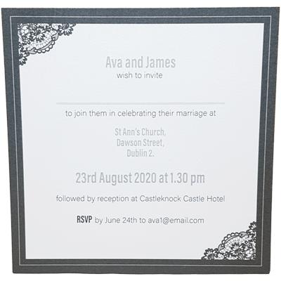 front of invitation grey border