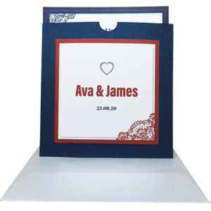 Kings Blue Pocket Invitation with Red Borders