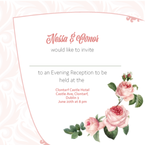 Light Pink Floral Evening Invitation