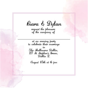 Pink and White Evening Invitation