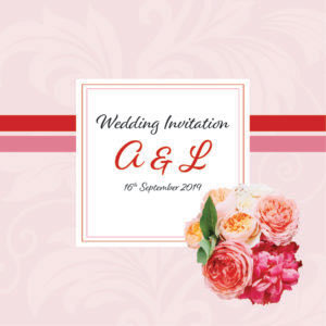 pink and red floral wedding invite collection