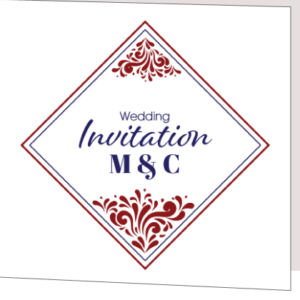 Red and Blue Folded Wedding Invitation