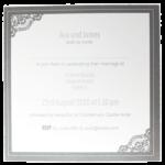 Majestic Marble White Pocket Invitation With Dark Grey Borders