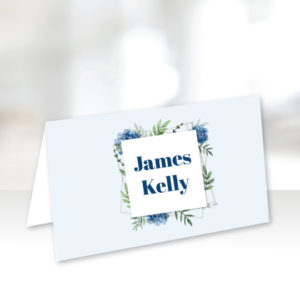 Light Blue Floral Name Cards