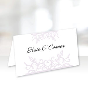 White and Light Purple Name Cards