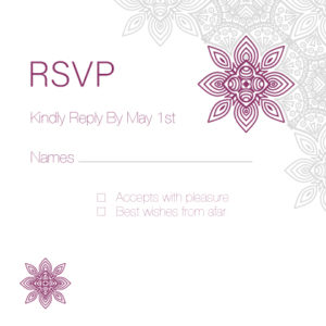 Dark Red and White Floral RSVP