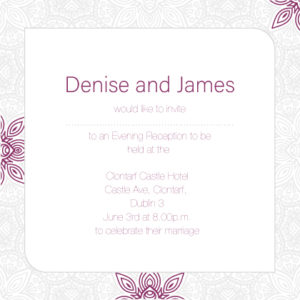 Dark Red and White Floral Evening Invitation