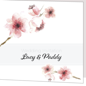 Pink Floral Folded Wedding Invitation