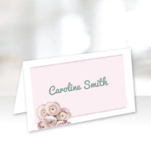 Pink Floral Name Cards
