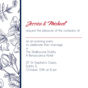 Floral Sketch Evening Invitation