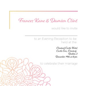 Pink and Yellow Evening Invitation