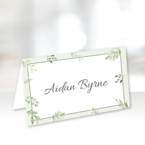White and Green Name Cards
