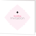 White and Pink Folded Wedding Invitation