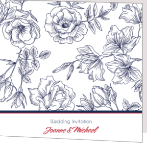 Floral Sketch Wedding Invitation